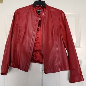 Style & Co petite red leather jacket size L